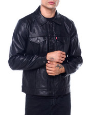 Leather Jackets - Faux Leather Classic Trucker Jacket-2415146