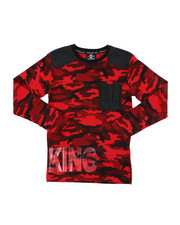 SWITCH - Camo Printed Long Sleeve Tee W/ Nylon Detail (8-20)-2412891
