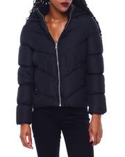 Fashion Lab - Elastic V Quilt W/Sherpa Hood & Collar Short Puffer-2410981