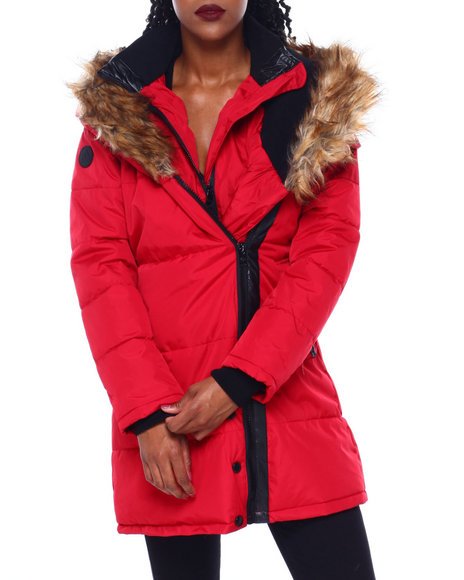 Fashion Lab - Puffer Jacket W/Asymmetrical Zip And Faux Fur Trim Hood