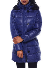 Fashion Lab - Zip Front W/Loop Closure Faux Fur Trim Hood Puffer Coat-2416285