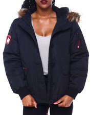 Canada Weather Gear - CWG Faux Fur Trim Hood Rib Bottom Bomber-2414394