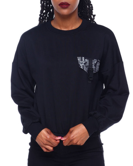DEREK HEART - Fleece Crew Neck Pullover W/Pkt/Buckle Detail