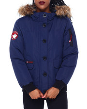 Outerwear - CWG Faux Fur Trim Hood Rib Bottom Bomber-2414389