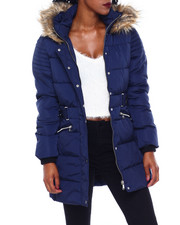 Women - Quilted Puffer Jacket W/Self Belt & Faux Fur Trim Hood-2416270