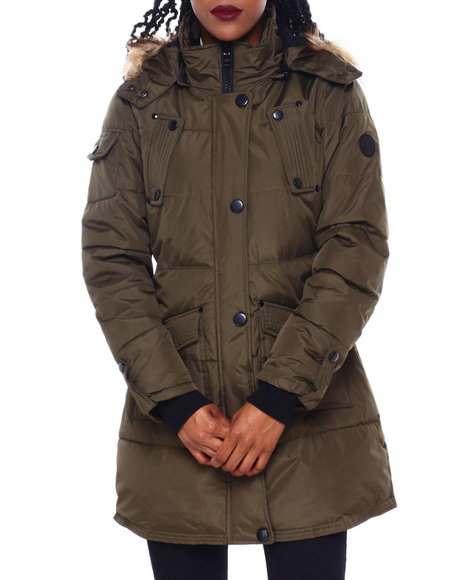 Fashion Lab - Hooded Puffer Jacket W/Faux Fur Trim Hood