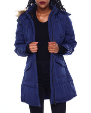 Womens-Winter - Hooded Puffer Jacket W/Faux Fur Trim Hood-2416193