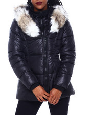 Womens-Winter - Puffer Jacket W/Asymmetrical Zip And Faux Fur Trim Hood-2416255