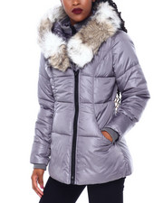 Women - Puffer Jacket W/Asymmetrical Zip And Faux Fur Trim Hood-2416250
