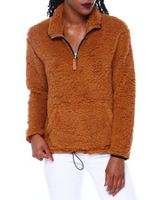 DEREK HEART - Faux Sherpa Pullover W/Toggle Pull At Hem-2414421