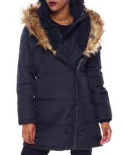 Womens-Winter - Puffer Jacket W/Asymmetrical Zip And Faux Fur Trim Hood-2416245