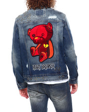 Kloud 9 - Embellished Stone Chenille Bear Denim Jacket-2415822