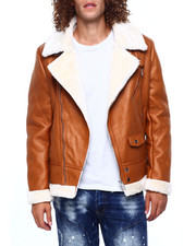 Heavy Coats - FAUX SHEARLING MOTO JACKET-2417246