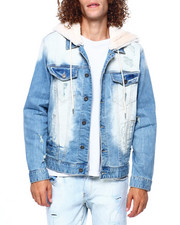 Mens-Fall - FAUX FUR HOOD DENIM JACKET-2416634