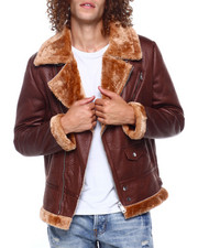 Heavy Coats - FAUX SHEARLING MOTO JACKET-2417199