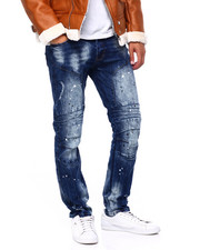 Men - Cut and Sew Articulated Knee Moto Jean-2415766