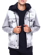 Denim Jackets - FAUX FUR HOOD DENIM JACKET-2416640
