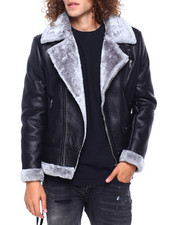 Heavy Coats - FAUX SHEARLING MOTO JACKET-2417267