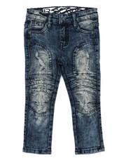 Jeans - Stretch Moto Denim Jeans W/ Cut & Sew Knee Panels (2T-4T)-2417440