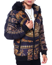 Heavy Coats - Gold Baroque and Tiger Quilted Hood Jacket-2418863