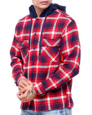 Shirts - PLAID WORKSHIRT W SHERPA HOOD-2418500