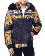Heavy Coats - Gold Filigree Quilted Hood Jacket-2418869