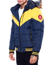 Heavy Coats - Navy and Yellow Chevron Puffer Coat-2418875