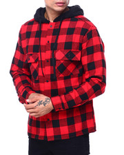 Shirts - PLAID WORKSHIRT W SHERPA HOOD-2418509