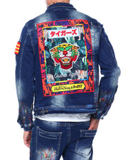 Mens-Fall - HANDPAINTED  TIGER DENIM JACKET-2418535