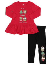 Girls - 2 Pc Holiday Top & Legging Set (2T-4T) -2418948