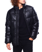 DKNY - Faux Leather Quilted Puffer Coat-2419640