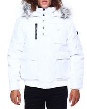 Heavy Coats - BOMBER JACKET W FAUX FUR HOOD-2419518