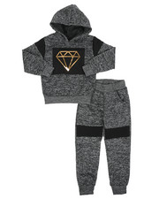 Sets - 2Pc Fleece Hoodie Foil Neoprene Jogger Set (4-7)-2418917