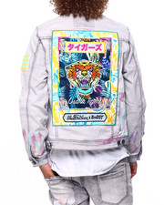Mens-Fall - HANDPAINTED  TIGER DENIM JACKET-2419614