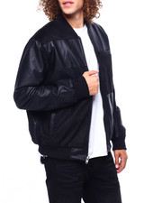 Mens-Fall - MIXED SUEDE COLOR BLOCK BOMBER JACKET-2419599