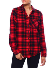 Womens-Winter - L/S Plaid Flannel W/ Sherpa Lining-2420062