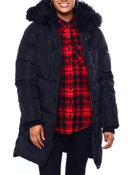Jessica Simpson - JS Long Nylon Puffer W/Side Zip & Faux Fur Trim Hood