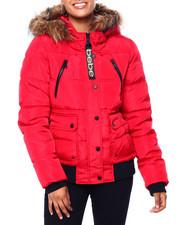 Outerwear - BB Faux Fur Trim Hood Rib Bottom Short Bomber Puffer-2420284