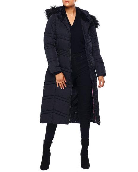 Jessica Simpson - JS Nylon Maxi Puffer W/ Faux Fur Trim Hood