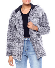 Womens-Winter - Frosted Sherpa 2 Pkt Open Tunic Cardigan-2419919
