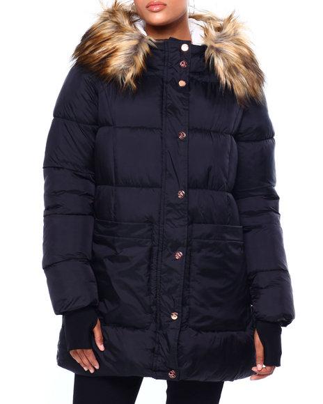 Jessica Simpson - JS Faux Fur Lined & Trim Hood Nylon Puffer