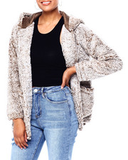 Womens-Winter - Frosted Sherpa 2 Pkt Open Tunic Cardigan-2419915