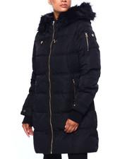 Womens-Winter - Long Nylon Puffer W/ Faux Fur Lining & Edge-2420341