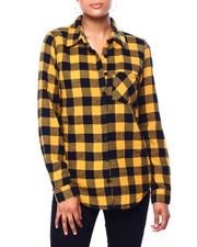 Womens-Winter - L/S Plaid Flannel W/ Sherpa Lining-2420066