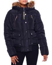 Outerwear - BB Faux Fur Trim Hood Rib Bottom Short Bomber Puffer-2420293