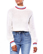 Sweaters - Stripe Trim Mock Nk Drop Shoulder Cropped Pullover-2420025