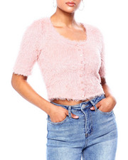 Sweaters - Cotton Candy Sweater Knit Elbow Slv Crop Cardigan-2419941