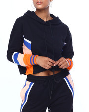 Athleisure for Women - Stripe Colorblock Crop Hoodie-2419279