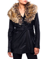Womens-Winter - 3/4 Faux Leather Biker Jacket W/ Faux Fur & Belt-2420251