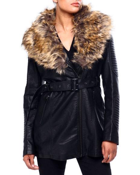 Red Fox - 3/4 Faux Leather Biker Jacket W/ Faux Fur & Belt